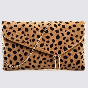 Handbags - Chic Leopard Fur Princess Clutch with Chain